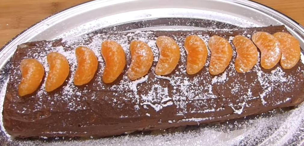 Bûche de Noël vegan : chocolat – coco – clémentine
